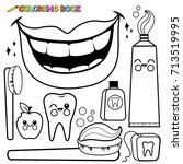 dental hygiene set. black and... | Shutterstock . vector #713519995