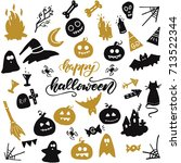 halloween clip art. vector... | Shutterstock .eps vector #713522344