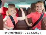 happy kids  adorable girl with... | Shutterstock . vector #713522677