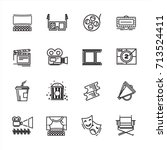 set of cinema and theater icons.... | Shutterstock .eps vector #713524411