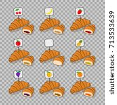 set croissant and half a... | Shutterstock .eps vector #713533639