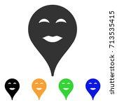 lady pleasure smiley map marker ... | Shutterstock .eps vector #713535415