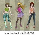 fashion girls posing   a...