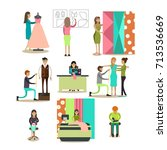 icons set of fashion atelier... | Shutterstock . vector #713536669