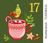 vector christmas advent... | Shutterstock .eps vector #713538121