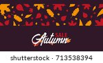 autumn background with leaves... | Shutterstock .eps vector #713538394