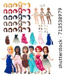 dresses and hairstyles game.... | Shutterstock .eps vector #713538979