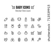 baby care thin line icon set.... | Shutterstock .eps vector #713539915