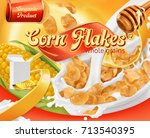 corn flakes  honey and milk... | Shutterstock .eps vector #713540395
