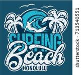 lettering surfing beach... | Shutterstock .eps vector #713540551