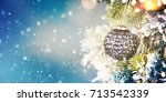 christmas ornament on wooden... | Shutterstock . vector #713542339