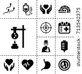 medicine icon. set of 13 filled ... | Shutterstock .eps vector #713542375