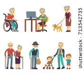old age people in different... | Shutterstock .eps vector #713542735