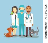 veterinarian staff with cute... | Shutterstock .eps vector #713542765