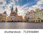 Prague Old Town Square Czech Republic, sunrise city skyline empty nobody