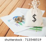 money saving and money bag with ... | Shutterstock . vector #713548519