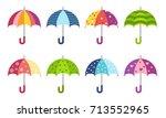 colorful cute pattern umbrellas ... | Shutterstock .eps vector #713552965