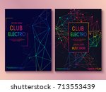 set of cards with liqud colors. ... | Shutterstock .eps vector #713553439