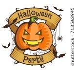 smiling halloween pumpkin with... | Shutterstock .eps vector #713563945