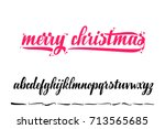 merry christmas  handwritten... | Shutterstock .eps vector #713565685
