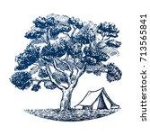 tent under big tree standing on ... | Shutterstock .eps vector #713565841