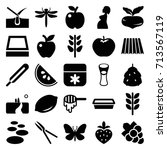 natural icons set. set of 25... | Shutterstock .eps vector #713567119