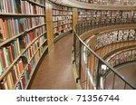 bookshelf in library with many...   Shutterstock . vector #71356744