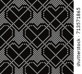 knitted seamless pattern hearts ... | Shutterstock .eps vector #713571865