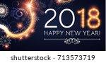 happy new 2018 year. lights ... | Shutterstock .eps vector #713573719