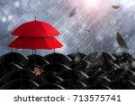 insurance agent holding red...   Shutterstock . vector #713575741