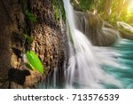 pha tad waterfall is a three...   Shutterstock . vector #713576539