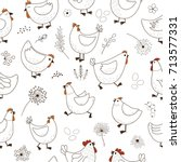 seamless pattern with chicken... | Shutterstock .eps vector #713577331