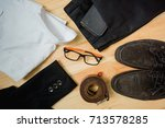 man casual outfits fashion... | Shutterstock . vector #713578285