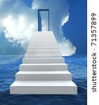 Staircase with open door to a semi cloudy blue sky. 3D illustration - stock photo