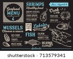 seafood menu for restaurant and ... | Shutterstock .eps vector #713579341