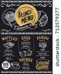brunch food menu for restaurant ... | Shutterstock .eps vector #713579377