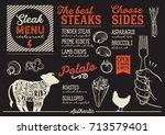 steak menu for restaurant and... | Shutterstock .eps vector #713579401
