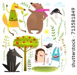 wild funny forest objects and... | Shutterstock .eps vector #713581849