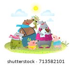 bear family father mother kids... | Shutterstock .eps vector #713582101
