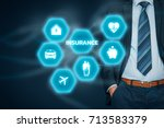 Small photo of Insurance concept. Businessman with button and insurance icons: real estate, car, travel, family and life, financial and health.