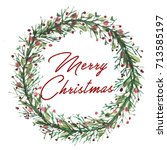 greeting card with christmas... | Shutterstock . vector #713585197