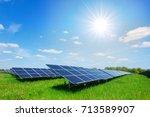 solar panel on blue sky... | Shutterstock . vector #713589907