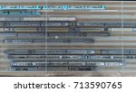 aerial railway hub top down... | Shutterstock . vector #713590765