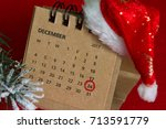 calendar and circled christmas... | Shutterstock . vector #713591779