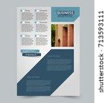 blue vector flyer template.... | Shutterstock .eps vector #713593111