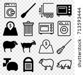 domestic icons set. set of 16... | Shutterstock .eps vector #713593444