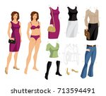 paper doll with clothes for...   Shutterstock .eps vector #713594491