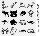 wildlife icons set. set of 16... | Shutterstock .eps vector #713596645