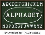 retro font on chalkboard....   Shutterstock .eps vector #713598061