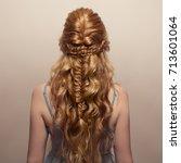 beautiful woman. braid tail... | Shutterstock . vector #713601064